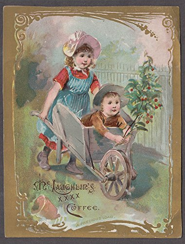 (McLaughlin's XXXX Coffee trade card 1880s Precious Load - boy in wheelbarrow)