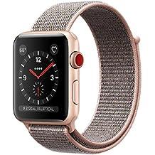 Apple watch series 3 Aluminum case Sport 42mm GPS + Cellular GSM unlocked (Gold Aluminum case with Pink sand sport loop)