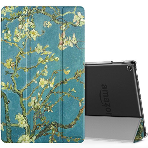 MoKo Case for All-New Amazon Fire HD 10 Tablet (7th Generation, 2017 Release) - Smart Shell Stand Cover with Auto Wake/Sleep & Translucent Frosted Back for Fire HD 10.1 Inch Tablet, Almond Blossom