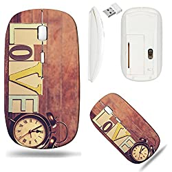 Liili Wireless Mouse White Base Travel 2.4G Wireless Mice with USB Receiver, Click with 1000 DPI for notebook, pc, laptop, computer, mac book ID: 29375014 clock and word Love on wooden table