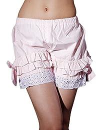 Antaina Pink Cotton Victorian Ruffles Lace Bow Lolita Pumpkin Bloomers Shorts