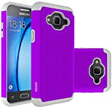Galaxy J3 Case, Galaxy Amp Prime Case, Galaxy Express Prime Case - OEAGO Shock-Absorption Dual Layer Defender Protective Case Cover For Samsung Galaxy J3 (2016) / Amp Prime / Express Prime - Violet
