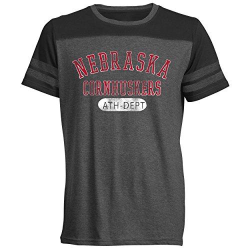 - Camp David NCAA Nebraska Cornhuskers Men's Crew Neck Tee with Sleeve Stripes, Large, Black