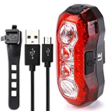 LE 3W USB Rechargeable LED Bike Tail Light, Waterproof Rear Bike, 4 LEDs, 5 Light Modes, USB Cable Included, Fits on any Bicycles, Helmets or Backpacks, Used for Safety and Warning
