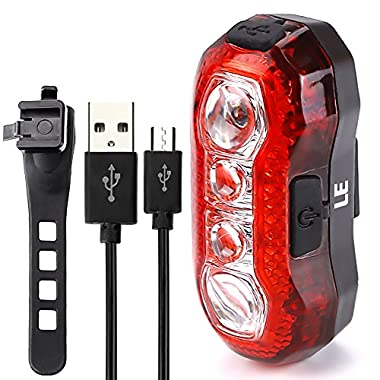LE Super Bright Bike Light, USB Rechargeable Rear Tail Light, Waterproof Cycling Light, 4 LEDs, 5 Light Modes, Red, Cable Included, Fits on any Bicycles, Helmets or Backpacks