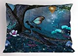 Lunarable Fantasy Pillow Sham, Enchanted Forest with Blooming Flowers Mystical Environment Woods Illustration, Decorative Standard Queen Size Printed Pillowcase, 30 X 20 inches, Multicolor