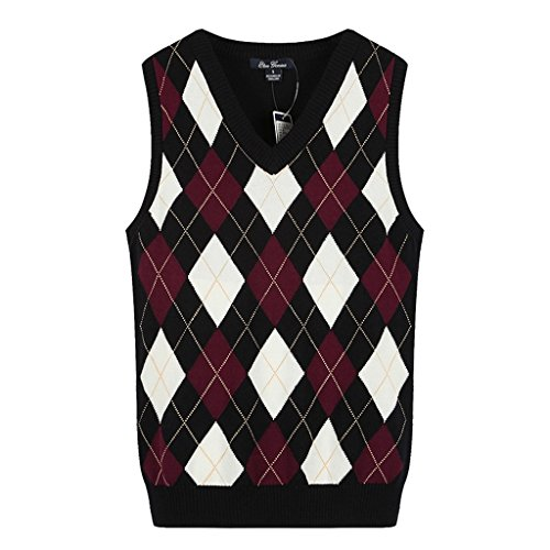 (Colyanda Girl's School Uniforms Cotton V Neck Argyle Knit Sweater Vest Red S)