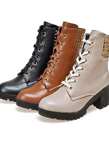 Uk8 Eu35 Brown Xzz Robusto us10 Punta La Casual Uk Tacón Vestido Botas Moda De Eu42 Cn43 Ante us5 Uk3 Mujer 5 Zapatos negro Redonda Semicuero Cn34 5 Beige Sintético A pTwxpq1r
