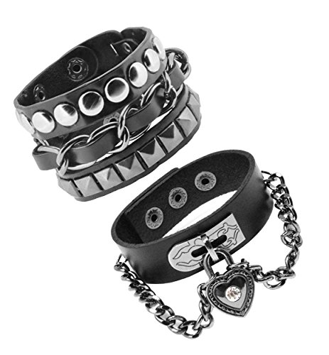 Punk Rock Adult (Metal Spiked Studded Chain Biker Gothic Jewelry Punk Rock Black Leather Bracelet for Men and Women (Heart & Chain Combo))