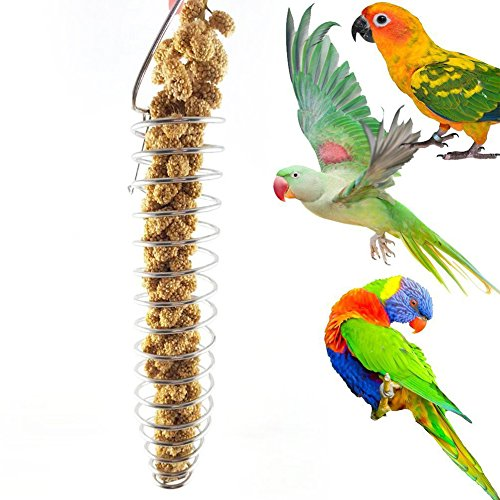 Heaven2017 Spiral Birds Feeder, Millet Treat Fruit Holder for Parrot – Stainless Steel
