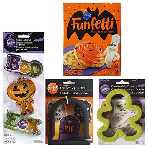 Tombstone Comfort Grip - Halloween Cookie Baking Kit - 1 Pillsbury Halloween Funfetti Sugar Cookie Mix (17.5 oz), 3 Wilton Halloween Colored Metal (Boo, Pumpkin, Eek) & 2 Comfort Grip Cookie Cutters (Tombstone and Mummy)