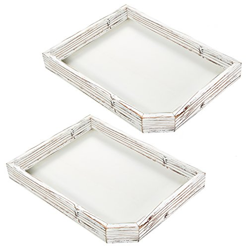 2 Candle Trays - Set of 2 Distressed Whitewashed Wood Serving Trays, Farmhouse Style Coffee Table Display Tray