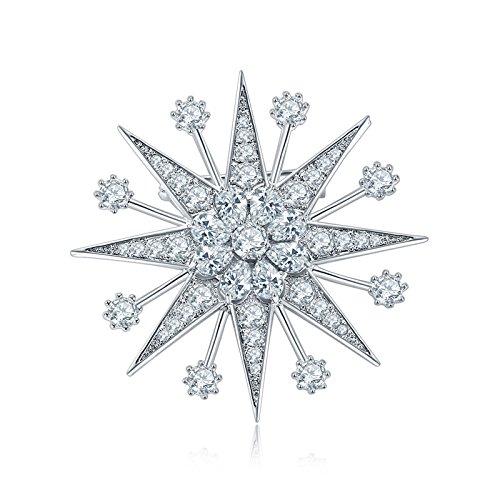 Crystal Winter Snowflake Star Brooch Pin (Clear)