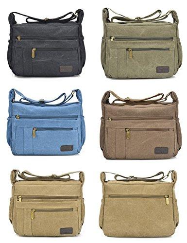 Fabuxry Light Weight Canvas Shoulder Bag for Women Messenger Handbags Cross Body Multi Zipper Pockets Bag