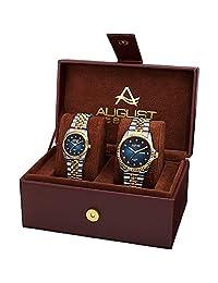 August Steiner AS8201 Juego de reloj para él y para ella – Dos relojes a juego para hombre y mujer – Pulsera de eslabones de acero inoxidable, caja de regalo, Two-Tone Gold & Blue