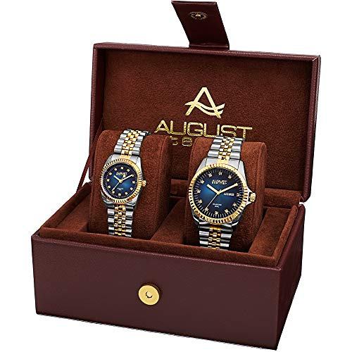 (August Steiner AS8201 Matching His and Hers Glamorous Watch Gift Set- Stainless Steel Bracelet - Perfect Gift (Two-Tone Gold & Blue))
