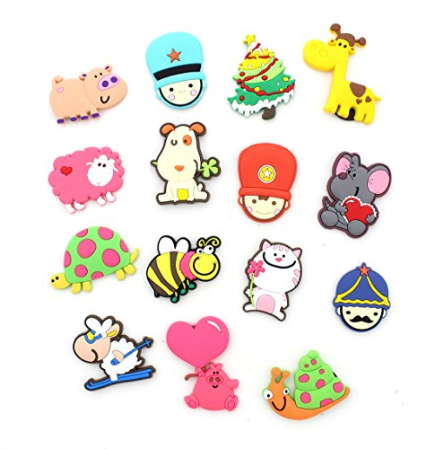 Zicome Set of 15 Colorful Cartoon Refrigerator Magnets - Assorted Shapes and (Cartoon Magnet)