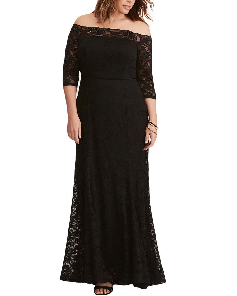 a16761be340 Lalagen Womens Plus Size Lace Off Shoulder Wedding Dress Evening Party Maxi  Gown Black XXL