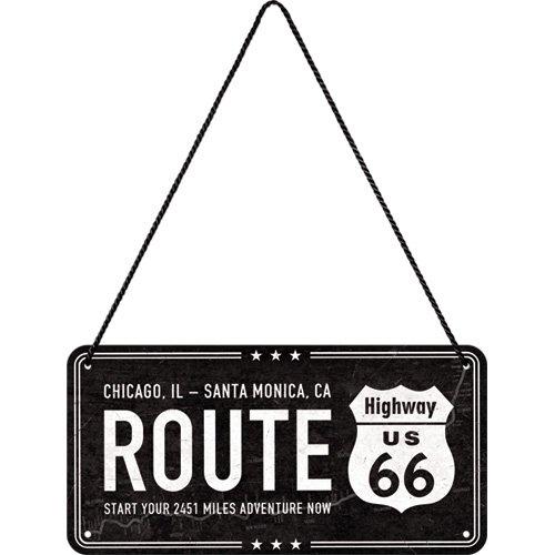 Nostalgic-Art 28025 Highway 66 Black | hä ngeschild | Ré tro Vintage Dé coration Murale | Panneau de Porte |Metall | 10 x 20 cm, Multicolore, 10 x 20 x 0,1 cm 10x 20x 0 1cm