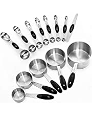 Measuring Cups, Stainless Steel Teaspoon Tablespoon, 13-Piece Measuring Spoon Set, Fits in Spice Jars