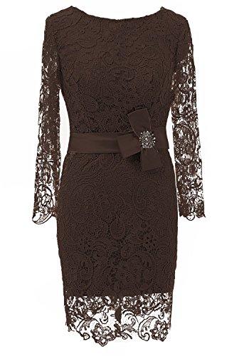 HarveyBridal Lace Mother of The Bride Dress Long Sleeves Knee Length Brown