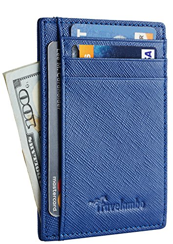 Travelambo Front Pocket Wallet Minimalist Wallets Leather Slim Wallet Money Clip RFID Blocking(crosshatch blue)