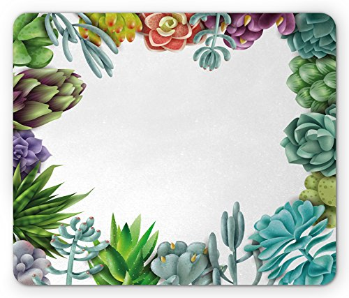 Lunarable Succulent Mouse Pad, Frame with Various Succulent Plants Collection Vivid Garden Tropical Nature Image, Standard Size Rectangle Non-Slip Rubber Mousepad, (Garden Images Collection)