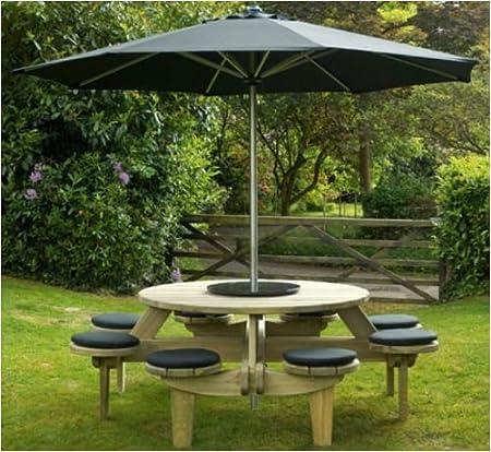 Alexander Rose Belfry Pine Round Picnic Table Garden Set, Seat Pads,  Granite Lazy Susan
