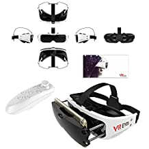 """3D VR Headset, Tsanglight Compact Virtual Reality Glasses Headset Viewer + Remote for IOS iPhone 7/7 Plus/6/6S Plus, Android Samsung Galaxy S7 Edge S7/S6/S5/J7/A5/A3 2016 & Other 3.5-6.0"""" Cellphone"""