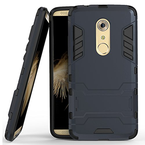 Axon 7 Case, ZTE Axon 7 Case, MicroP(TM) Dual Layer Armor Hard Slim Hybrid Kickstand Phone Cover Case for ZTE Axon 7 (Navy Blue Kickstand Case)