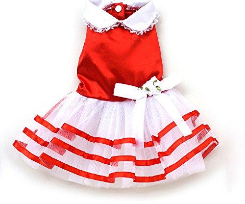 XING YU Satin Stripe TUTU Dress, Red, Small