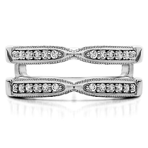 TwoBirch 0.24 Ct. X Design Ring Guard with Millgrain and Filigree Detailing in Sterling Silver with Cubic Zirconia