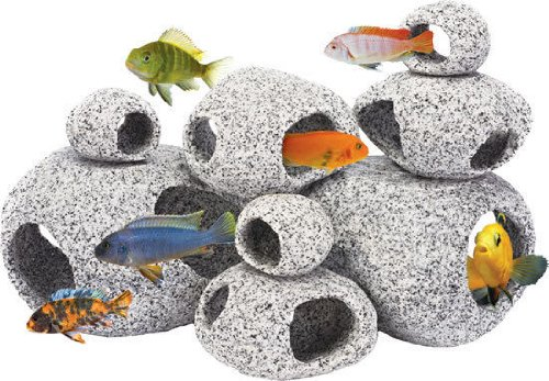 1 LARGE & 1 EXTRA LARGE AQUARIUM ORNAMENT NATURAL GRANITE STONE FISH HIDEAWAY DEN MARKETING PN-RR1075