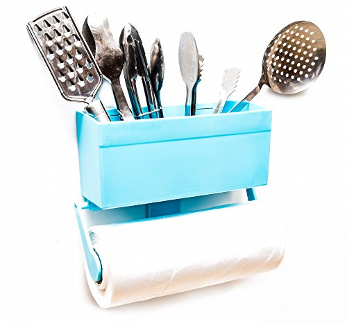 Kitchen Buddy Magnetic Paper Towel Holder for Refrigerator with Multipurpose Storage Rack Organizer (Baby Blue) (Refrigerator Magnetic Holder compare prices)