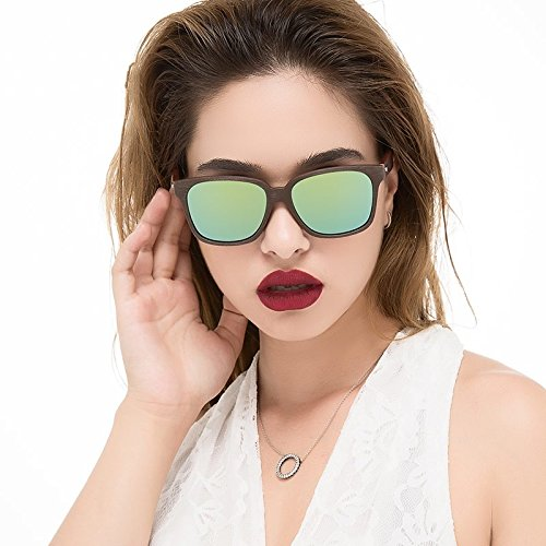 el clásicas negro con Sunglasses de Gafas de piernas Unisex nogal acetato granos en de madera TL azul gafas de espejo Brown Gold sol similar 7SdPnSaR