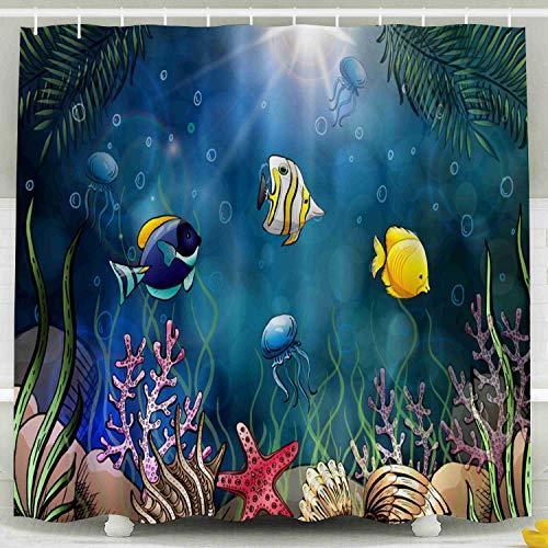 Musesh Fabric Shower Curtain,Kids Shower Accessories, 78x72 Inch Shower Curtain Home Decoration Set with Hooks Composition Seashells Starfish Jellyfish Underwater World Sea Background