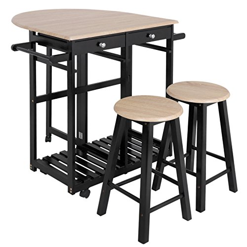 JupiterForce Table Drop Leaf Foldable Rolling Kitchen Island Cart 3PCS Wooden Dinning Breakfast Set Bar Trolley Folding Furniture with 2 Drawers 2 Stools from JupiterForce