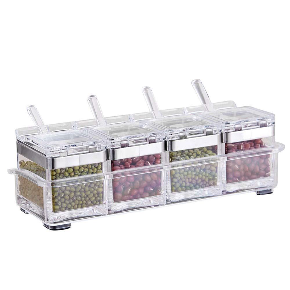 4Pcs/Set Seasoning Pots Spice Rack Bottle Seasoning Jar Condiment Storage Container Acrylic Spices Storage Box Seasoning Boxes Pot w/Tray for Sugar Salt Cruet, Kitchen Condiment Storage Case Bottle WElinks