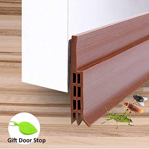 Brown Door Sweep (Door Bottom Seal Strip, RIOUSSI Flexible Under Door Draft Stopper Sweep Weather Stripping (Brown, 2