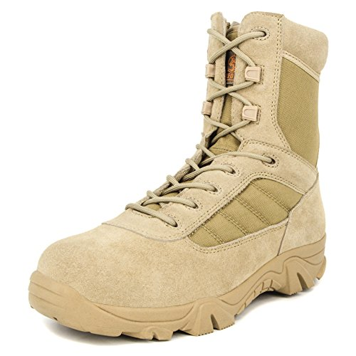Milforce Men's 8 inch Military Tactical Boots Combat Desert Duty Work Shoes with Side Zipper (12.5 D(M) US, Sand)