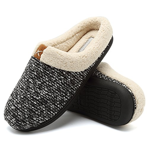 Lined Insoles (Fanture Men's Memory Foam Slippers Wool-Like Plush Fleece Lined Slip-on Clog Scuff House Shoes Indoor & Outdoor-U418WMT022-black-40.41)