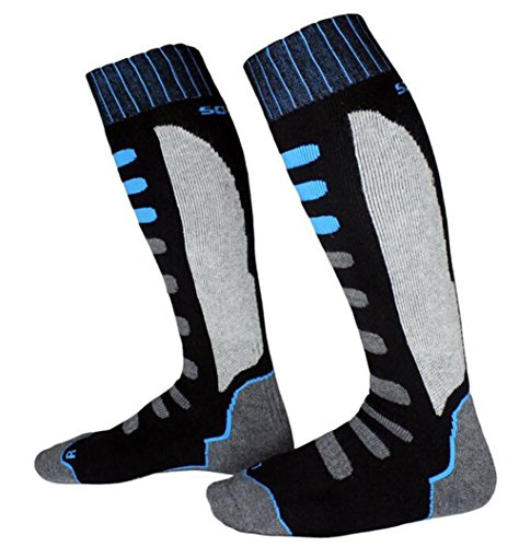 Winter Ski Socks Outdoor Sports Snowboard/Skiing Warm Knee-High Performance Sock Black and Blue by Yundxi