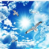 Mznmcustom Large Ceiling Zenith Mural Wallpaper 3D Stereo Blue Sky White Clouds Dove Nature Landscape Photo Mural Ceiling Wallpapers-120X100Cm