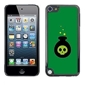 FECELL CITY // Duro Aluminio Pegatina PC Caso decorativo Funda Carcasa de Protección para Apple iPod Touch 5 // Poison Bomb Cartoon Halloween Witch