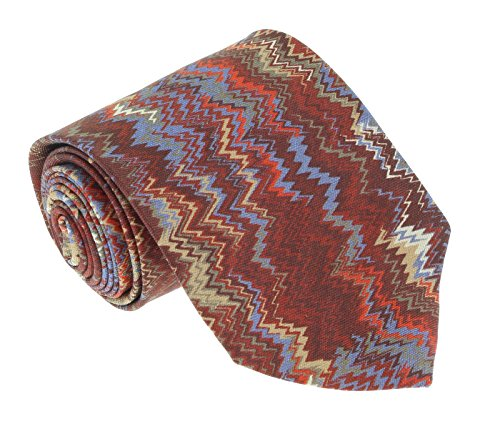 - Missoni U1531 Red/Blue Flame Stitch 100% Silk Tie for mens
