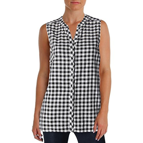 Foxcroft Womens Checkered Sleeveless Casual Top Black 4