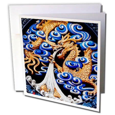 3dRose Danita Delimont - Artwork - Dragon Metal Sculpture, Jade Buddha Temple Jufo Si, Shanghai, China - 1 Greeting Card with envelope (gc_257108_5) (China Sculpture)