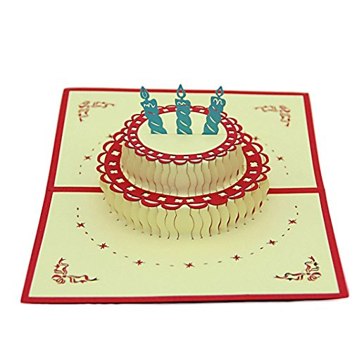 IShareCards Handmade 3D Pop Up Birthday Cards Creative Greeting Cards Papercraft (180° Birthday Cake 3 Candles)