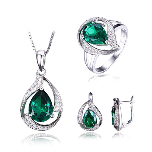 JewelryPalace Women's Pear 8.3ct Created Green Nano Russian Emerald Jewelry Sets Clip On Earrings Pendant Necklace Ring Solid 925 Sterling Silver Size 7
