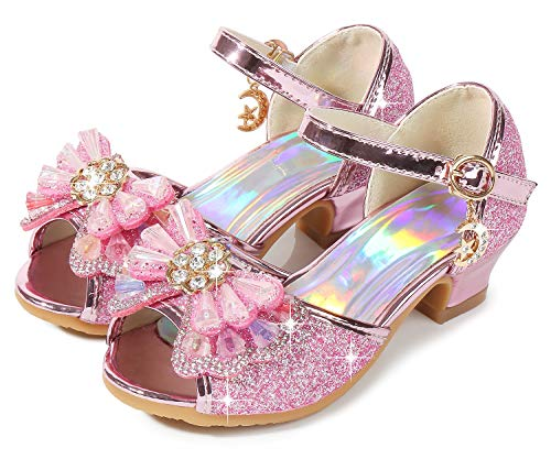 Osinnme Sandals for Kids Girls High Heel Christmas Princess Heeled Shoes Size 3.5M for Big Girls Wedding Sequin Princess Crystal High Wedge Sandals (02T Pink 36)]()